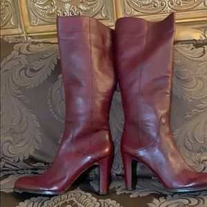 Brand new soft leather burgundy full length boots